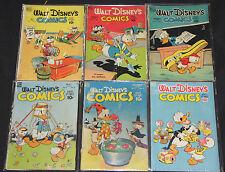 1940's DELL GOLD WALT DISNEY'S COMICS and STORIES LOT 6pc #92-110 (2.0-5.0)
