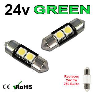 2 x Green 24v 31mm Festoon Interior Plate Light 256 2 SMD SV7-8 Bulbs HGV Truck