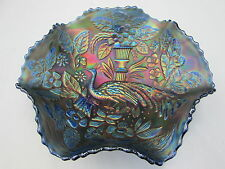 Gorgeous Antique Fenton BLUE Peacock At The Urn Carnival Glass Bowl