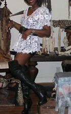Elegant Designer Paris Couture White Camillia lace JACKET Top S 0-6