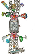 NEW KIRKS FOLLY TROPICAL HEAT WAVE CHARM BRACELET WATCH ST  SAILBOAT, PARROT