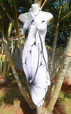 White Black Giant Hibiscus Flower Floral Pareo Sarong Hawaiian Shawl Wrap Dress