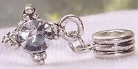 April Birthstone Clear Rhinestone Dangle Bead for Silver European Charm Bracelet