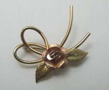 KREMENTZ PETITE Y. & R. GOLD TONE DOUBLE LOOP W/ROSE PIN BROOCH **