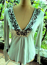 Shirt Tunika Bluse Topp helles kiwi grün schwarz Payletten Gr 34 36  nicht weiß