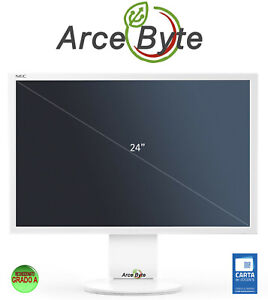 "MONITOR PC 24"" Nec MultiSync EA243WM 1920x1200 VGA DVI HDMI FATTURABILE GRADO A"
