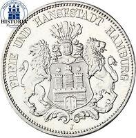 J.65 Kaiserreich Hansestadt Hamburg 5 Mark Silber 1913 Stadtwappen in Münzkapsel