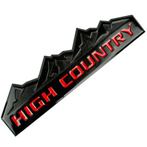 BLACK/RED HIGH COUNTRY MOUNTAIN METAL OEM EMBLEM/BADGE/LOGO FOR TRUNK HOOD DOOR