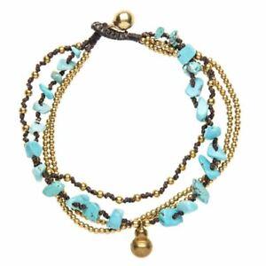 81stgeneration Brass Gold Tone Turquoise Bell Bead Ankle Anklet Bracelet, 26 cm
