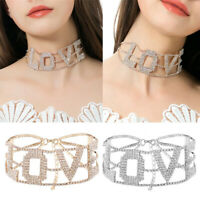 Letter Crystal Choker Necklace Women Multilayer Collar Chain Party Jewelry Gift