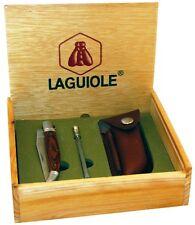 LAGUIOLE Edelstahl-Taschenmesser NEU+OVP mit Wetzstahl, Holster+Holzbox