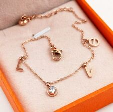 Love Heart Rose Gold Link Chain Surgical Stainless Steel Gift Ankle Bracelet NP