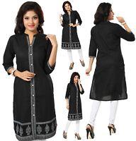 Indian Pakistani Black Printed Cotton Kurta Kurti Tunic Top Shirt for Women MM72