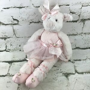Bearington Baby Ballerina Dancer Plush Pig Stuffed Animal Soft Toy Pink White
