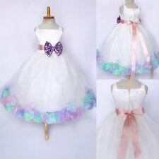 Pastel Unicorn Rose Petal Dress White Tulle Flower Girl Wedding Summer Easter#24