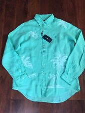 NWT $125 POLO RALPH LAUREN KEY WEST GREEN LONG SLEEVE 100% LINEN SHIRT SZ M