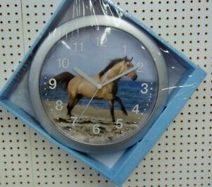 Neue Kinder- Wanduhr mit Pferd am Strand, Silberrand, Ø 24cm, 14,90 € portofrei