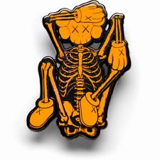 KAWS Orange Skeleton Enamel Pin NGV Exclusive 2019 Rare Limited Sold Out