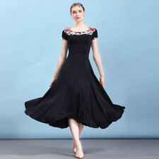 Latin Ballroom Dance Dress Modern Salsa Waltz Standard Long Dress#NN098 3 Colors