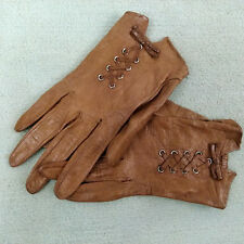 Vtg Christian Dior Soft Brown Leather Lace / Tie Women's Moto Gloves 7 Cosplay