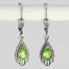 Grevenkämper Ohrringe Swarovski Kristall Silber Tropfen Vintage grün Peridot