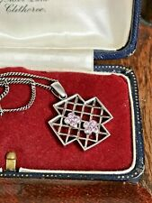 "Gems TV 925 Sterling Silver & Pink Crystals Pendant Necklace 16"" Chain (D8F4)"