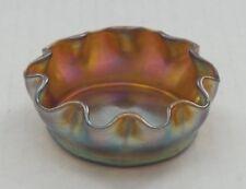 Tiffany FAVRILE Gold Iridescent Art Glass Salt Cellar, Purple Highlights