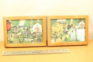 Emma Schrock Folk Artist Paintings Lot Barn Raising, The Auction