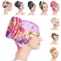 Women Hair Loss Head Scarf Turban Cap Flower Print Muslim Cancer Chemo Hat Cover