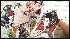 Japanese geisha Stickers,Japanese Paper,card making Supplies,Stickers Decoupage