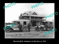 OLD POSTCARD SIZE PHOTO OF WARWICK QUEENSLAND QATB TOWN AMBULANCE CAR 1916