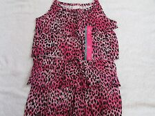 NEW XHILARATION SIZE MEDIUM PINK CHEETAH PRINT RUFFLED SPAGHETTI STRAP TANK TOP