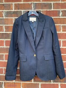 Banana Republic Blue Cotton Stretch Button Career Blazer Jacket Size 4 Small