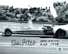 EDDIE HILL SIGNED AUTOGRAPHED 8x10 PHOTO + DRAG RACING HOF 1978 RARE BECKETT BAS