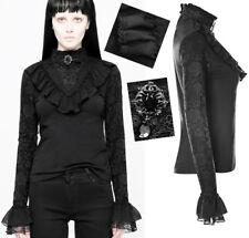 Top haut t-shirt gothique lolita victorien dentelle volant broche glam PunkRave
