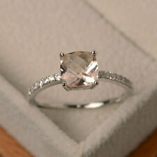 1.55 Ct Cushion Cut Morganite Diamond Wedding Ring Sterling Silver Size N O P