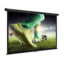 VonHaus 78-Inch Self Locking Manual Pull Down Projector Screen In White