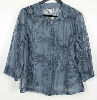 COLDWATER CREEK 2X Plus Women's Top Zip-Up Semi-Sheer Jacket Style Blue