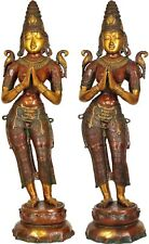 """Large Size Indian Celestial Welcome Lady Pair Flanking Temple Door Décor 45"""""""
