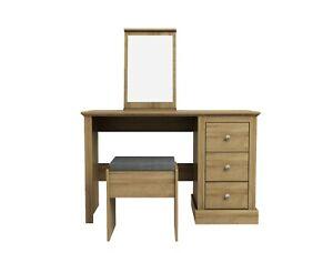 Devon Oak Dressing Table Set / Oak Effect Vanity Unit With Stool & Mirror