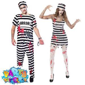 Adult Mens Ladies Zombie Convict Prisoner Costume Halloween Fancy Dress Outfit