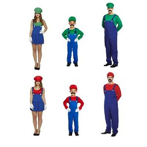 Fancy Dress Super Mario Luigi Family Outfits Costume Adult Child Male & Female