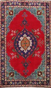 Vintage Geometric Tebriz Hand-knotted Area Rug Traditional Oriental 3'x5' Carpet