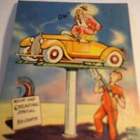 Walt Munson Postcards Rear End Greasing Special Auto Comic 1938 Linen Postmark