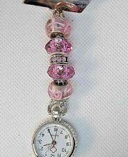 elegant pink crystal , flower glass beads Watch nurse fob uniform pocket brooch