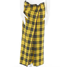 COMME DES GARCONS AW1999 yellow punk plaid tartan wrap front crop pants M 30""