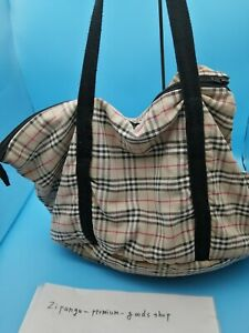 BURBERRY Nova Check Dog Pet puppy Carrier Bag Travel Small Dog Poor / Acceptable