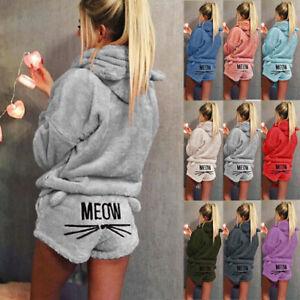 Women Pyjamas Sets Winter MEOW Warm Hoodies PJs Homewear Sleepwear Shorts + Tops