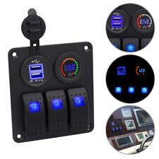 LED 3Gang Schaltpanel Schalter Schalttafel Voltmeter +USB12V-24V für Bus Boot