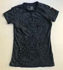 Nike Womens Sz S 4-6 Graphic T-Shirt Heart Torch 1776 Tattoo Art SS Dark Navy
